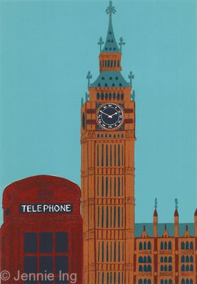 Jennie Ing Big Ben With Red Telephone Box London art for sale