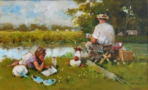 John Haskins Out For The Day riverside painting for sale
