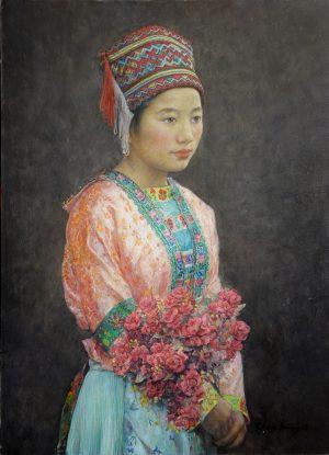 Shen Ming Cun Miao Girl Liu Xiao Tan classical portrait painting for sale