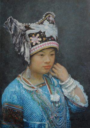 Shen Ming Cun Miao In Blue fine art portrait painting for sale
