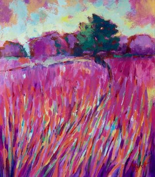 David Brett Purple Twilight pink landscape painting for sale