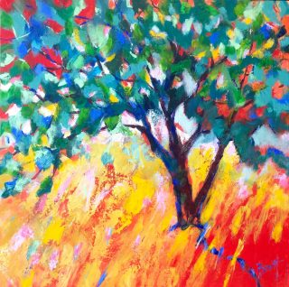 David Brett Summer III colourful impressionist painting for sale