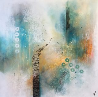 Andrea Gill Distance III minimalist teal abstract art for sale