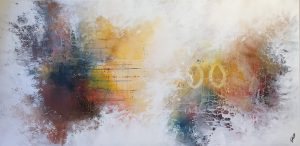 Andrea Gill Distance IV abstract grey artwork for sale