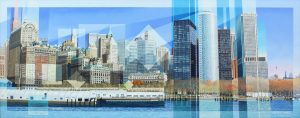 Les Matthews Lower Manhattan panoramic painting for sale