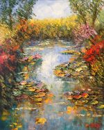 Madjid Waterlilly Reflections traditional painting for sale