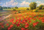 Gerhard Nesvadba Across The Fields, Poppies painting for sale