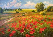 Gerhard Nesvadba Across The Fields, Poppies painting for sale