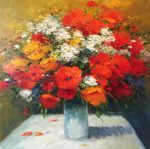 Gerhard Nesvadba Floral I modern still life painting for sale