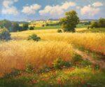 Gerhard Nesvadba Wheat Field landscape painting for sale