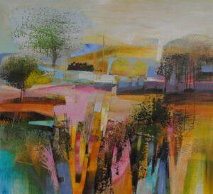 Celia Wilkinson Parched colourful modern landscape for sale