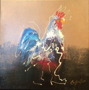 Caspar Van Houten Chicken In White colourful chicken art for sale