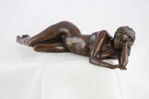 Ronald Cameron Poolside reclining bronze sculpture for sale
