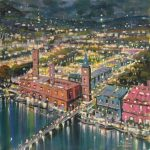 Mario Sanzone London By Night cityscape painting for sale