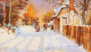 John Haskins Snow In The Church Lane buy winter art