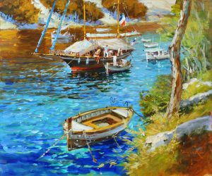 John Haskins Cala Figueras spain seascape painting for sale