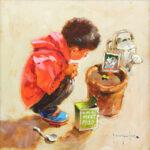 John Haskins The Patient Gardener charming art for sale