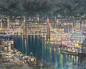 Mario Sanzone Tower Bridge London modern painting for sale
