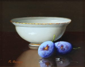 Ronald Berger Bowl With Damson Berries still life art for sale