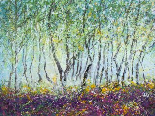 Sharon Withers Heather Mist colourful woodland art for sale