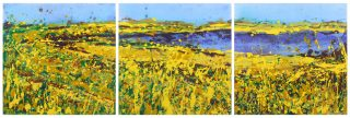 Sharon Withers Summer Haze triptych abstract painting for sale