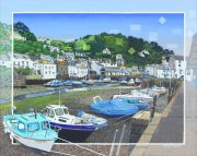 Les Matthews The Inner Harbour Polperro painting for sale