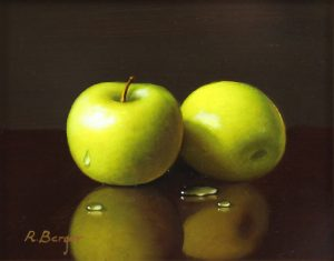 Ronald Berger Two Green Apples Traditional Oil Artwork for sale