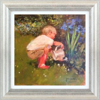 John Haskins The Gardener's Assistant english garden art for sale traditional framed child summer FRAMED