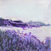 Sharon Withers Misty Dawn purple landscape painting for sale