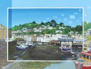 Les Matthews Polperro cornish harbour painting for sale