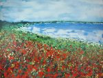 Sharon Withers Poppies To The Bay floral seascape for sale