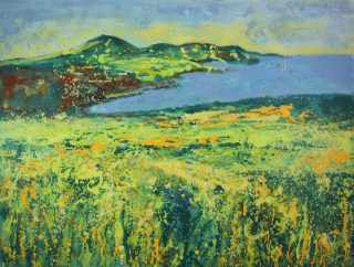 Sharon Withers September Coastline oil painting for sale