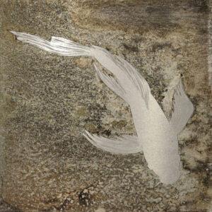 Paul Fearn Single Koi in Silver bronze sheet painting