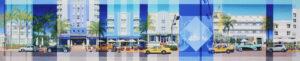 Les Matthews Ocean Drive Miami 6th to 7th Street panoramic art print for sale
