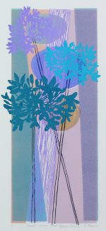 Tessa Pearson Small Long Teal Agapanthus 2 lilac floral artwork for sale