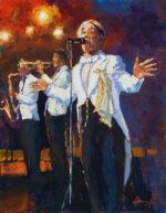 John Hammond Stagelight original jazz bar painting for sale