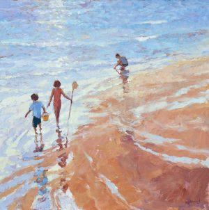 John Hammond The Explorers playful beach painting for sale
