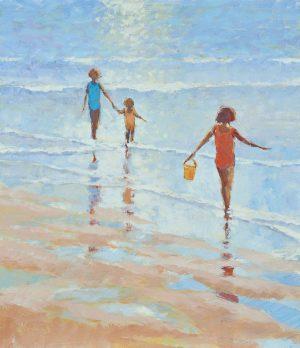 John Hammond The Yellow Bucket beach painting for sale