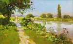 John Haskins A Sunny Walk On The Ivel traditional river painting