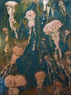 Paul Fearn Invasion II copper jellyfish wall art for sale