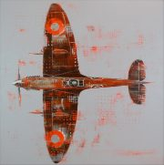 Richard Knight Orange Spitfire original painting for sale