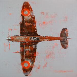 Richard Knight Orange Spitfire original painting for sale