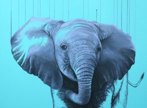 Louise McNaught You Are A Star (unframed) blue elephant art print for sale
