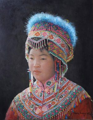 Shen Ming Cun Miao Tribe cultural portrait painting for sale