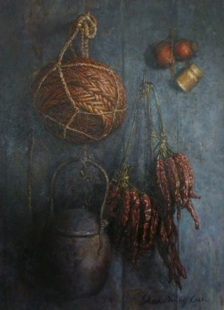Shen Ming Cun Still Life with Basket & Cooking Pot rural painting for sale