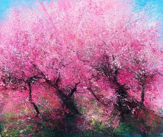 John Connolly Wow Look At The Blossom Dad pink trees painting for sale