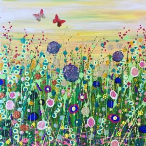 Tracey Thornton Welcome Spring floral butterfly art for sale