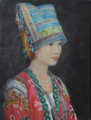 Shen Min Cun Blue Beaded Headdress, Miao Tribe art for sale