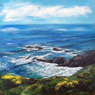 Grace Ellen Gorse At My Feet british coastal painting for sale