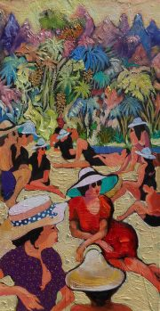 Leonard Dobson Tahiti island summer beach painting for sale